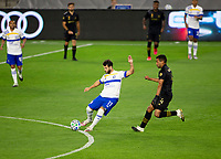 LOS ANGELES, CA - SEPTEMBER 02: Valeri Qazaishvili #11 of the San Jose Earthquakes passes off the ball during a game between San Jose Earthquakes and Los Angeles FC at Banc of California stadium on September 02, 2020 in Los Angeles, California.