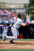 Portland Sea Dogs designated hitter Tate Matheny (7) follows through on a swing during the first game of a doubleheader against the Reading Fightin Phils on May 15, 2018 at FirstEnergy Stadium in Reading, Pennsylvania.  Portland defeated Reading 8-4.  (Mike Janes/Four Seam Images)