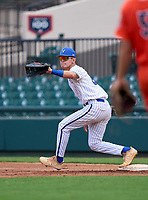 Lakeland Christian Vikings first baseman Jake Fox (2) stretches for a throw during the 42nd Annual FACA All-Star Baseball Classic on June 6, 2021 at Joker Marchant Stadium in Lakeland, Florida.  (Mike Janes/Four Seam Images)