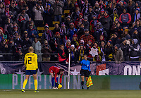 COLUMBUS, OH - NOVEMBER 07: Rose Lavelle #16 of the United States takes a corner kick during a game between Sweden and USWNT at Mapfre Stadium on November 07, 2019 in Columbus, Ohio.