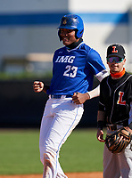 IMG Academy Ascenders James Wood (23) stands on second base after hitting a double during a game against the Lakeland Dreadnaughts on February 20, 2021 at IMG Academy in Bradenton, Florida.  (Mike Janes/Four Seam Images)
