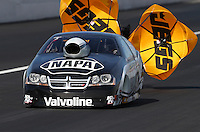 Feb. 15, 2013; Pomona, CA, USA; NHRA pro stock driver Vincent Nobile during qualifying for the Winternationals at Auto Club Raceway at Pomona. Mandatory Credit: Mark J. Rebilas-