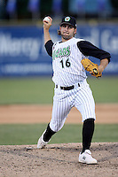 May 25, 2008: Chad Kerfoot (16) of the Kane County Cougars makes a pitch against the Quad Cities River Bandits at Elfstrom Stadium in Geneva, IL. Photo by: Chris Proctor/Four Seam Images