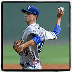 Starting pitcher Jackson Kowar (29) of the Lexington Legends delivers a pitch in a game against the Greenville Drive on Tuesday, July 17, 2018, at Fluor Field at the West End in Greenville, South Carolina. Kowar is the Kansas City #Royals' First-Round pick in the 2018 First-Year Player Draft. Lexington won, 10-3. (Tom Priddy/Four Seam Images)
