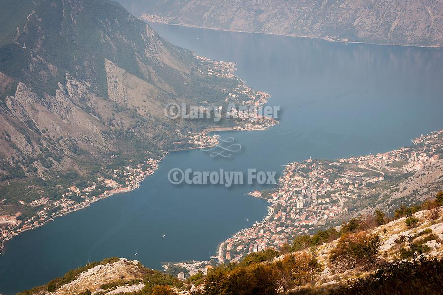 Kotor and the head of the Bay of Kotor--Boka Kotorska--along the road up to Lovcen National Park, Montenegro