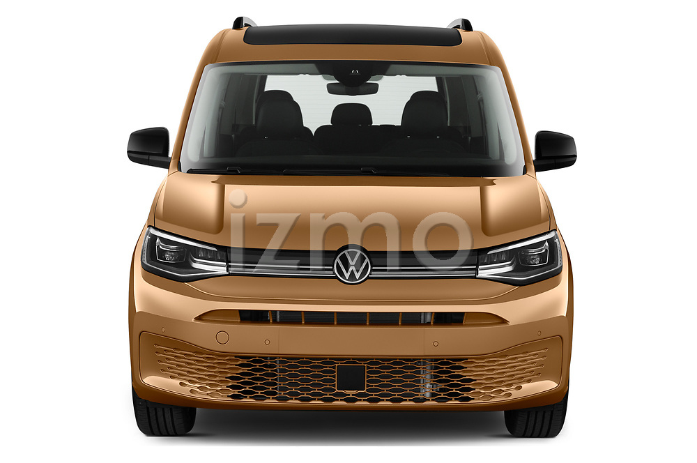 Car photography straight front view of a 2021 Volkswagen Caddy Style 5 Door Mini MPV Front View