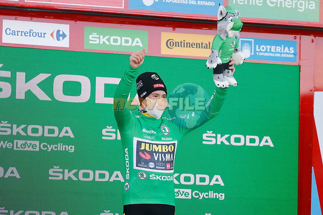 Race leader Primoz Poglic (SLO) Team Jumbo-Visma also retains the points Green Jersey at the end of Stage 17 of the Vuelta Espana 2020, running 178.2km from Sequeros to Alto de la Covatilla, Spain. 7th November 2020. <br /> Picture: Luis Angel Gomez/PhotoSportGomez | Cyclefile<br /> <br /> All photos usage must carry mandatory copyright credit (© Cyclefile | Luis Angel Gomez/PhotoSportGomez)