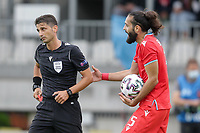 6th June 2021, Stade Josy Barthel, Luxemburg; International football friendly Luxemburg versus Scotland;  Vahid Selimovic Luxembourg discusses with referee Eldorjan Hamiti Albania after the red card and sending off