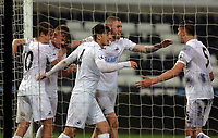 Pictured: Adam King of Swansea City (2nd L) celebrates his goal with team mates Monday 15 May 2017<br />Re: Premier League Cup Final, Swansea City FC U23 v Reading U23 at the Liberty Stadium, Wales, UK