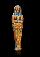 Ancient Egyptian sarcophagus outer coffin of singer Tabakenkhonsu, Temple of Hatshepsut at Deir el-Bahri, Thebes, 2nd half of 21st Dynasty, 680–670 B.C. Egyptian Museum, Turin. black background.<br /> <br /> The deceased is depicted with her hands rendered in high relief on top of a wesekh collar. a stylistic trait that allows the coffin to be dated from the late 21st Dynsaty. the outer coffin is of great quality depicting mythological scenes derived from the Book of the Dead spells.