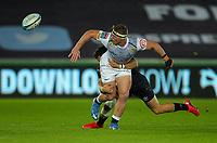 8th October 2021;  Swansea.com Stadium, Swansea, Wales; United Rugby Championship, Ospreys versus Sharks; James Venter of Cell C Sharks offloads after getting tackled by Luke Morgan of Ospreys