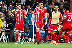 Bayern Munich James Rodriguez and Niklas Sule celebrating a goal during Semi Finals UEFA Champions League match between Real Madrid and Bayern Munich at Santiago Bernabeu Stadium in Madrid, Spain. May 01, 2018. (ALTERPHOTOS/Borja B.Hojas)