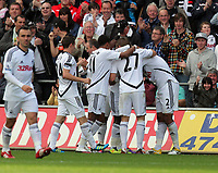 Pictured: Nathan Dyer celebarting his goal with team mates. Saturday 17 September 2011<br /> Re: Premiership football Swansea City FC v West Bromwich Albion at the Liberty Stadium, south Wales.