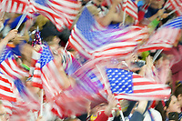 LE HAVRE, FRANCE - JUNE 20: United States fans, flags during a 2019 FIFA Women's World Cup France group F match between the United States and Sweden at Stade Océane on June 20, 2019 in Le Havre, France.