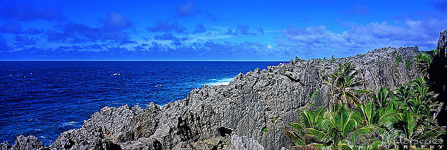 Niue Island Panorama - Togo chasm on Niue  <br /> <br /> Image taken on large format panoramic 6cm x 17cm transparency. Available for licencing and printing. email us at contact@widescenes.com for pricing.