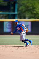 Tennessee Smokies second baseman Vimael Machin (1) during a Southern League game against the Jacksonville Jumbo Shrimp on April 29, 2019 at Baseball Grounds of Jacksonville in Jacksonville, Florida.  Tennessee defeated Jacksonville 4-1.  (Mike Janes/Four Seam Images)