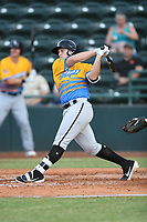 Andrew Vaughn (12) of Los Rapidos de Kannapolis follows through on his swing during a game against Las Llamas de Hickory at L.P. Frans Stadium on July 17, 2019 in Hickory, North Carolina. The Llamas defeated the Rapidos 7-5. (Tracy Proffitt/Four Seam Images)