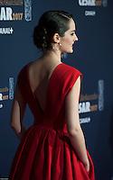 NoÈmie Merlant ‡ la 42e CÈrÈmonie des CÈsars ‡ l'arrivÈe sur le tapis rouge de la salle Pleyel ‡ Paris le 24 fÈvrier 2017