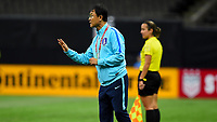 New Orleans, LA - Thursday October 19, 2017: Yoon Dukyeo during an International friendly match between the Women's National teams of the United States (USA) and South Korea (KOR) at Mercedes Benz Superdome.