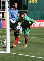 Luis Miguel Noriega retrieves the ball after his goal. Mexico defeated Nicaragua 2-0 during the First Round of the 2009 CONCACAF Gold Cup at the Oakland, Coliseum in Oakland, California on July 5, 2009.