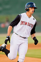 Trayce Thompson #24 of the Kannapolis Intimidators rounds third base after hitting a home run against the Delmarva Shorebirds at Fieldcrest Cannon Stadium on May 21, 2011 in Kannapolis, North Carolina.   Photo by Brian Westerholt / Four Seam Images
