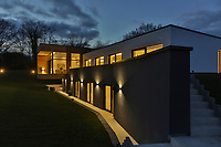 BNPS.co.uk (01202) 558833<br /> Pic: Savills/BNPS<br /> <br /> Nightfall at Skyfall<br /> <br /> A striking high-tech eco home that would not look out of place in a Bond film is on the market for offers over £4m.<br /> <br /> Skyfall is a luxurious house in the Berkshire countryside designed to be totally carbon free.<br /> <br /> With its luxe white interiors, minimalist decor and stunning countryside surroundings, the five-bedroom property would fit effortlessly into 007's world.<br /> <br /> But it's the eco features of the brand new house, which is just outside the village of Taplow with Huntswood Golf Course next door, that make it really stand out.