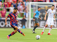 AUSTIN, TX - JULY 29: Sebastian LLetget #17 of the United States passes the ball to a teammate during a game between Qatar and USMNT at Q2 Stadium on July 29, 2021 in Austin, Texas.