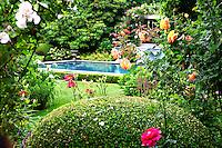 lush garden with swimming pool