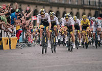 Wout Poels (NED/SKY) & Team SKY piloting yellow jersey / GC leader Geraint Thomas (GBR/SKY) safely over the famous Champs-Élysées boulevard<br /> <br /> Stage 21: Houilles > Paris / Champs-Élysées (115km)<br /> <br /> 105th Tour de France 2018<br /> ©kramon