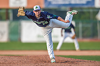 12 July 2015: Vermont Lake Monsters pitcher Derek Beasley on the mound against the West Virginia Black Bears at Centennial Field in Burlington, Vermont. Beasley recorded his second win of the season as the Lake Monsters came back from a 4-0 deficit to defeat the Black Bears 5-4 in NY Penn League action. Mandatory Credit: Ed Wolfstein Photo *** RAW Image File Available ****