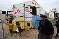Idomeni / Greece 06/04/2016<br /> Refugees in the camp Idomeni handled by MSF. On the background one of the big tents set up to accommodate large families.<br /> Photo Livio Senigalliesi