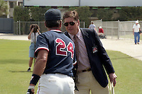 NBC anchor Tom Seaver shakes hands with Dwight Evans (24) during spring training circa 1989 at Chain of Lakes Park in Winter Haven, Florida.  (MJA/Four Seam Images)