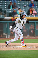 Jose Miguel Fernandez (9) of the Salt Lake Bees bats against the Sacramento River Cats at Smith's Ballpark on April 19, 2018 in Salt Lake City, Utah. Salt Lake defeated Sacramento 10-7. (Stephen Smith/Four Seam Images)