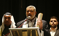 "Palestinian Prime Minister of the Hamas government in Gaza, Ismail Haniyeh, participate in a parliament meeting discussing Palestinian rights in light of the upcoming U.S.-hosted Annapolis summit, in Gaza City, Monday, Nov. 26, 2007. The Islamic Hamas rulers of Gaza stepped up their verbal attacks on Palestinian President Mahmoud Abbas on Monday ahead of a U.S.-hosted Mideast conference, saying his policies had failed and undermined prospects for Palestinian statehood and unity.""photo by Fady Adwan"""