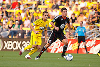 26 JUNE 2010:  Robbie Rogers of the Columbus Crew (18) and Devon McTavish #18 of DC United  during MLS soccer game between DC United vs Columbus Crew at Crew Stadium in Columbus, Ohio on May 29, 2010. The Crew defeated DC United 2-0.