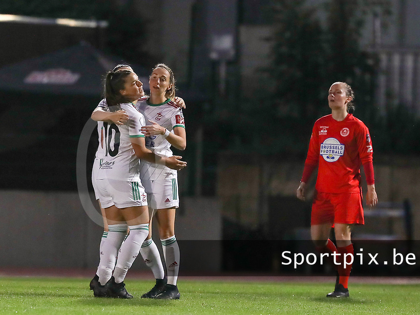 Charlotte Cranshoff (18) of OHL celebrates after scoring a goal with Luna Vanzeir (10) of OHLduring a female soccer game between FC Femina White Star Woluwe and Oud Heverlee Leuven on the fourth matchday in the 2021 - 2022 season of Belgian Scooore Womens Super League , Friday 10 th of September 2021  in Woluwe , Belgium . PHOTO SPORTPIX   SEVIL OKTEM