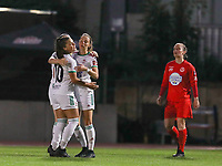 Charlotte Cranshoff (18) of OHL celebrates after scoring a goal with Luna Vanzeir (10) of OHLduring a female soccer game between FC Femina White Star Woluwe and Oud Heverlee Leuven on the fourth matchday in the 2021 - 2022 season of Belgian Scooore Womens Super League , Friday 10 th of September 2021  in Woluwe , Belgium . PHOTO SPORTPIX | SEVIL OKTEM