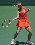 Caroline Wozniacki battles at the Sony Ericsson Open in Key Biscayne, Florida on March 29, 2012