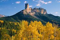 Aspens, Chimney Rock & Courthouse Mountain<br /> Owl Creek Pass<br /> Uncompahgre National Forest<br /> San Juan Mountains, Colorado