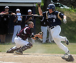 (060615 Bridgewater) Williams 5,  Casey Earle, provides all the runs his team would need, as he scores a head of the tag by West Bridgewater catcher, 2, Matt DeLuca, in the 11-0 win, Saturday, June 6, 2015, in Bridgewater. Herald Photo by Jim Michaud