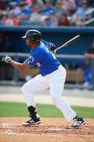 Biloxi Shuckers first baseman Art Charles (47) follows through on a swing during a game against the Jackson Generals on April 23, 2017 at MGM Park in Biloxi, Mississippi.  Biloxi defeated Jackson 3-2.  (Mike Janes/Four Seam Images)