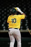 AZL Athletics Gold Santis Sanchez (10) celebrates as he crosses home plate after hitting a home run during an Arizona League game against the AZL Cubs 1 at Sloan Park on June 20, 2019 in Mesa, Arizona. AZL Athletics Gold defeated AZL Cubs 1 21-3. (Zachary Lucy/Four Seam Images)