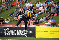 Peter Younghusband tries to catch a six during the men's Dream11 Super Smash cricket match between the Wellington Firebirds and Northern Knights at Basin Reserve in Wellington, New Zealand on Saturday, 9 January 2021. Photo: Dave Lintott / lintottphoto.co.nz