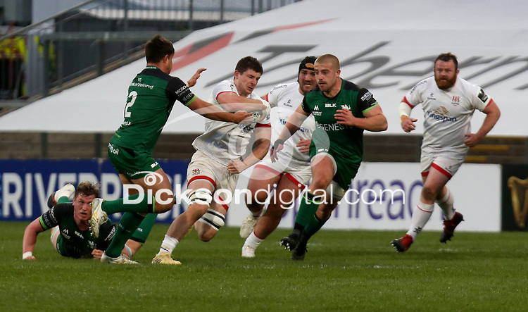 Friday 23rd April 2021; Nick Timoney is tackled by Dave Heffernan during the first round of the Guinness PRO14 Rainbow Cup between Ulster Rugby and Connacht Rugby at Kingspan Stadium, Ravenhill Park, Belfast, Northern Ireland. Photo by John Dickson/Dicksondigital