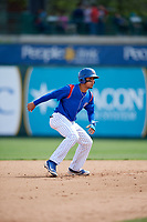 South Bend Cubs first baseman Jhonny Pereda (13) leads off second base during a game against the Kane County Cougars on May 3, 2017 at Four Winds Field in South Bend, Indiana.  South Bend defeated Kane County 6-2.  (Mike Janes/Four Seam Images)