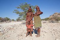 Himba Women running the petrol station in remote Kaokoland, Namibia