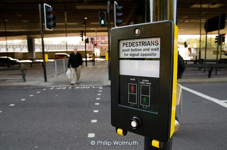 New pedestrian crossing beneath the Westway flyover on the Harrow Road, Royal Oak, London