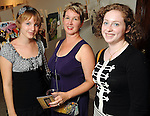 """From left: Marian Schwarz, Alice Quinn Schwarz and Bat-Sheva Tabakman at the """"Strung Out"""" backyard barbecue at the Winter Street Studios Saturday July 24,2010.(Dave Rossman/For the Chronicle)"""