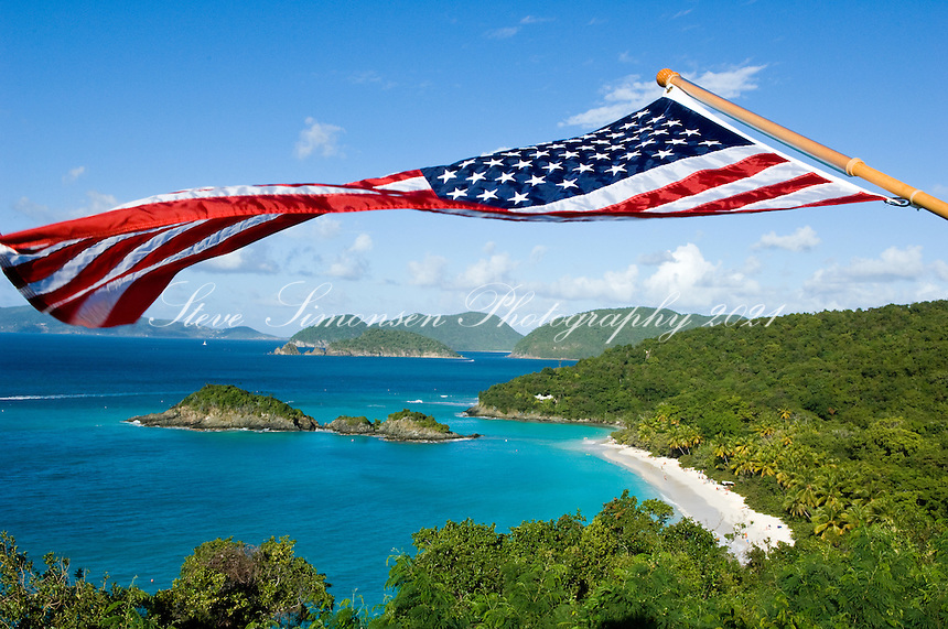 American flag over Trunk Bay.Virgin Islands National Park