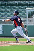GCL Twins designated hitter Mike Gonzalez (9) during a game against the GCL Red Sox on July 19, 2013 at JetBlue Park at Fenway South in Fort Myers, Florida.  GCL Red Sox defeated the GCL Twins 4-2.  (Mike Janes/Four Seam Images)